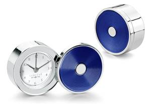 Swivel Lid Clock - Navy Blue Enamel