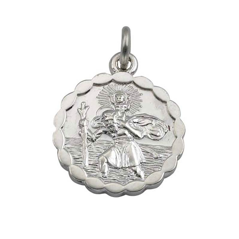 St christophers pendant round sterling silver with pie crust st christophers pendant round sterling silver with pie crust border 15mm aloadofball Images