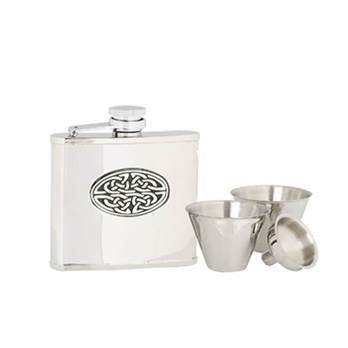 Stainless Steel Flask with Celtic Pattern in presentation box with Cups and Funnel