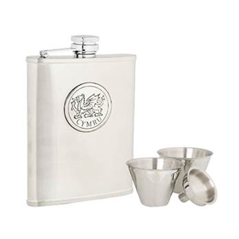 Stainless Steel 6oz Hip Flask with Cwmyru Pattern in presentation box with Cups and Funnel