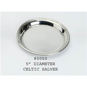 Pewter Plate 127mm Diameter with Celtic Design Rim - EBP-80050 by Edwin Blyde.