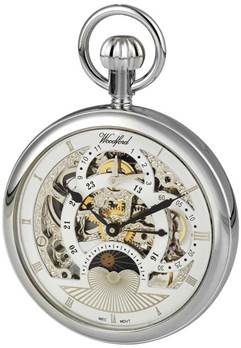 Woodford Chrome Plated 17 Jewel Mechanical Open Skeleton Face Pocket Watch 1050