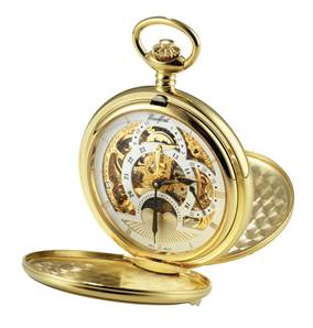 Woodford Gold Plated 17 Jewel Mechanical Double Hunter Skeleton Face Pocket Watch 1051