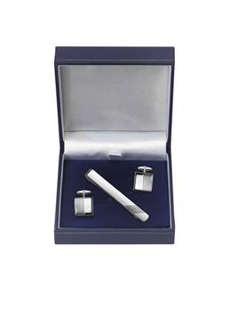 Rhodium Plated Engraved Square Cufflink and Tiebar Set