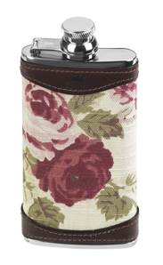 Hip Flask in Stainless Steel Slimline with Rose Pattern Cover and Leather Trim - 4oz - 5127