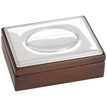 Sterling Silver Topped Hardwood Jewellery / Trinket Box - Large