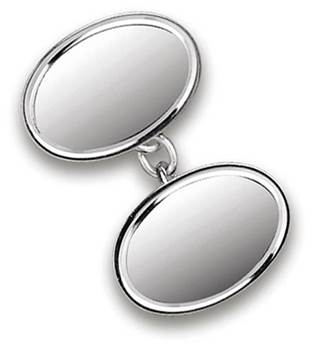 Sterling Silver Double Oval Cufflinks