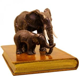 Elephant & Baby on Top of a Faux Book Paperweight