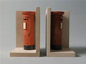'Red Post Boxes' - Pair of Bookend Models