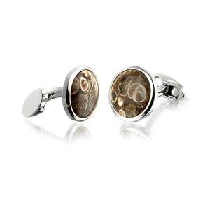 Silver Plated Round Cufflinks with Fossil Bearing Rocks