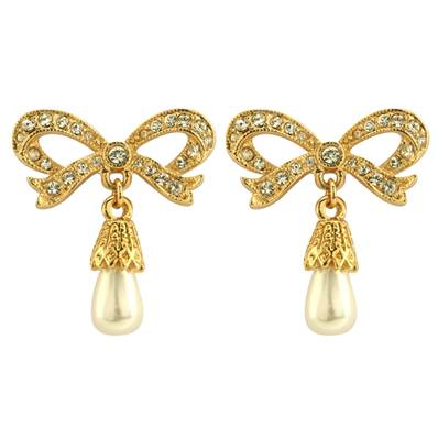 Princess Diana Bow Earrings in Faux Pearls, Swarovski Elements and Gold Plate