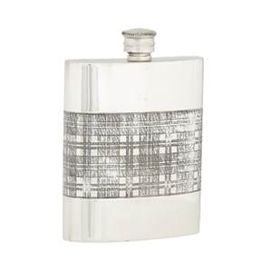 Pewter Hip Flask - 6oz Rectangular with Tartan Stripe