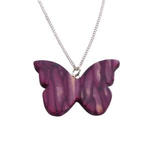 Butterfly Heather Pendant - Heathergem Handcrafted in Scotland - Sterling Silver