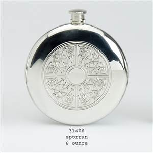 Pewter Flask 6oz Round Slimline Design Stamped with Sporan Design - EBP-31406 by Edwin Blyde.