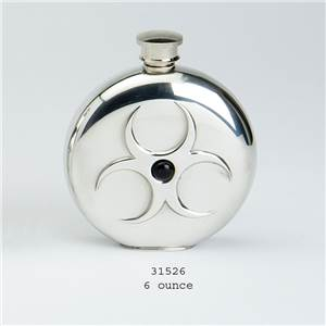 Pewter Flask 6oz Round, Onyx cabouchon with Hazard Design - EBP-31526 by Edwin Blyde.