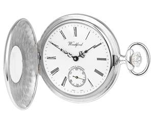 Woodford Swiss Mechanical Half-Hunter Pocket Watch, 1068, Men's Sterling Silver, Second-Hand Dial