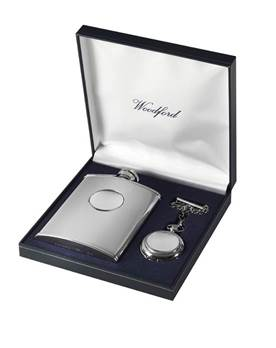 Matching Stainless Steel Hip Flask and Chrome Plated Pocket Watch Set - Plain Design