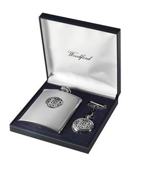 Matching Stainless Steel Hip Flask and Chrome Plated Pocket Watch Set - Celtic Knot Design