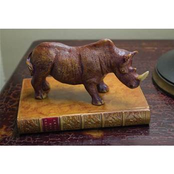 Rhinocerous on a Faux Book Paperweight