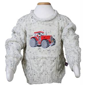 Childrens Tractor Embroidered Aran Sweater