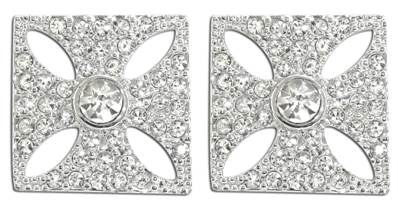 Queen Victoria's Diamond Crown Earrings -  Stud Fitting Silver Plated with Swarovski Elements