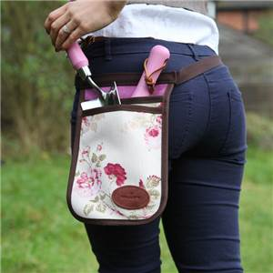 Floral Linen and Leather Tool Carrier