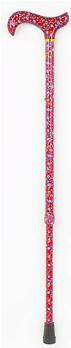 Adjustable Patterned Handle Walking Stick - 28.5to 37.5inches Red Floral