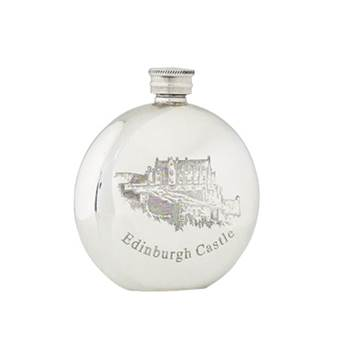 Pewter Hip Flask 6oz Round with Edinburgh Castle Design - by Sgian Dubhs