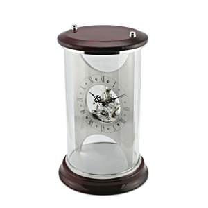 Glass Skeleton Clock with Red Mahogany Top and Base SKC18