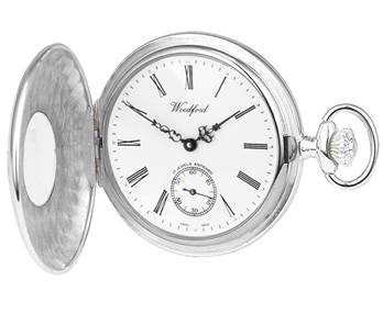 Woodford Swiss-Made Mechanical Half-Hunter Pocket Watch, 1067, Sterling Silver, Second-Hand Dial