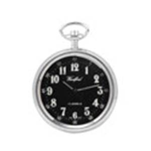Woodford Chrome Plated Arabic Black Face Mechanical Pocket Watch 1040