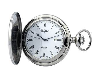 Woodford Plain Chrome Plated Full Hunter Quartz Pocket Watch With Chain 1206