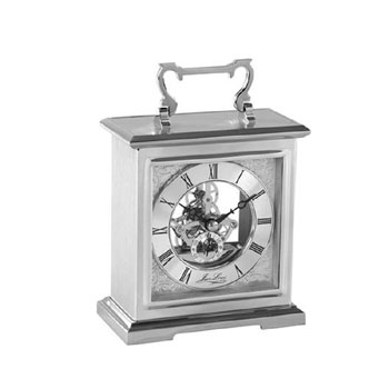 Carriage Clock Flat Top Bracket Style with Skeleton Movement and Chrome Finish