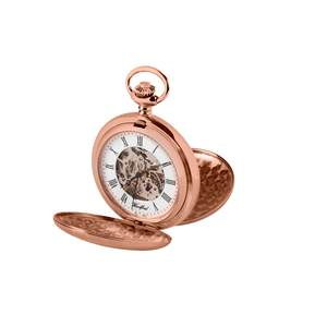 Woodford Rose Gold Plated Mechanical Twin Lid Skeleton Pocket Watch 1090