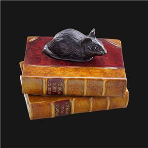 Mouse Paperweight - A tiny mouse on a double book paperweight.- Bronzed