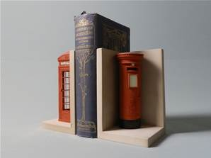 'Red Telephone Box and Post Box' Models as Bookends