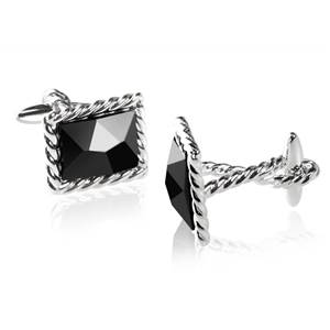 Twisted Rope Cufflinks with Black Crystal