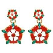 Tudor Rose Earrings - Silver Plated with Swarovski Elements