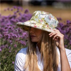 Linen Sun Hat in Abstract Painting Pattern from Bradleys