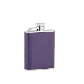 Ladies Purple Leather Covered 3oz Stainless Steel Flask - Plain Box