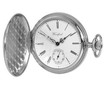 Woodford Swiss-Made Mechanical Full-Hunter Pocket Watch, 1061, Men's Chrome, Second-Hand Dial