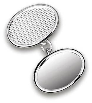 Patterned Sterling Silver Double Oval Chainlink Cufflinks
