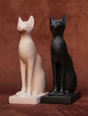 Egyptian Cats - Black - Hand crafted in Gypsum Plaster in the UK