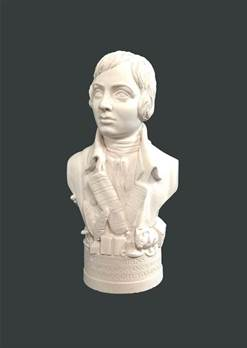 Bust of Robert (Robbie) Burns - Hand crafted in Gypsum Plaster in the UK