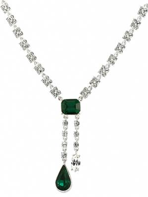Durbar Emerald Necklace - Silver Plated with Swarovski Elements