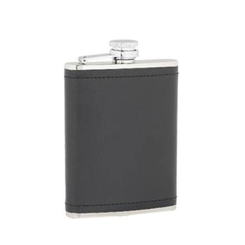 Leather Covered 6oz Flask with Captive Top presentation box and Funnel in Plain Box