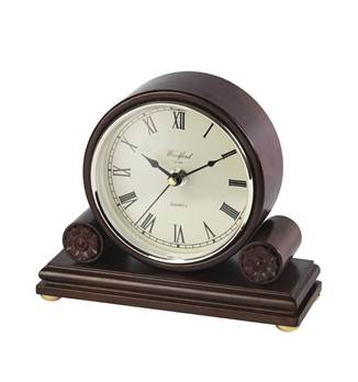 Mantel Clock Barrel Design with Quartz Movement, Second Hand and Roman Numerals -18 cm x 21,3 cm