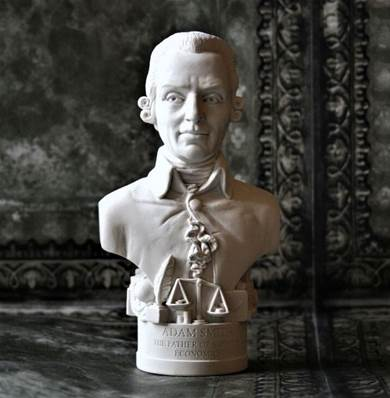 Adam Smith - Small Bust in Fine Gypsum Plaster in UK