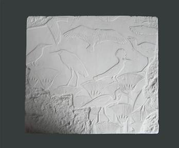 Birds In A Papyrus Swamp Plaque  - Hand Made in Gypsum Plaster