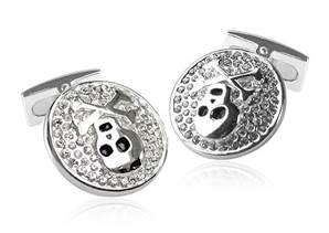 Pirate - White Sterling Silver & Crystal Cufflinks